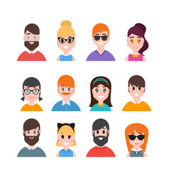 male and female portraits people avatars vector image