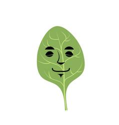 Spinach sleeping emoji green leaf isolated asleep vector