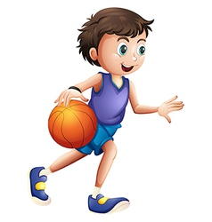 An energetic young man playing basketball vector