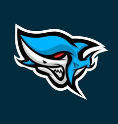 angry shark sport esport mascot logo vector image