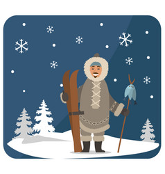 arctic hunter with fish and skis symbols vector image