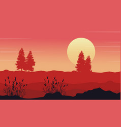 At morning desert with tree scenery vector