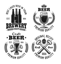 Beer and brewery four emblems labels badges vector