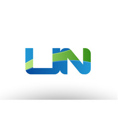 blue green un u n alphabet letter logo vector image