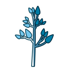 Blue silhouette of tree with leafs vector