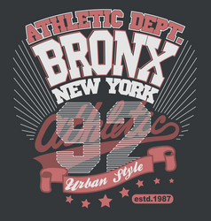 bronx t-shirt graphics new york athletic apparel vector image