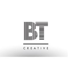 Bt b t black and white lines letter logo design vector