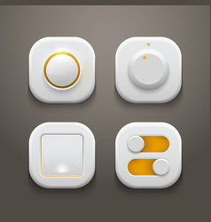 Buttons switches knobs set with realistic light vector