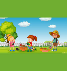 Children planting tree in pot vector
