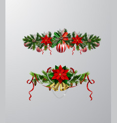 christmas tree branch decorations vector image