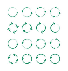 circular and swirling arrows set green whirlpools vector image