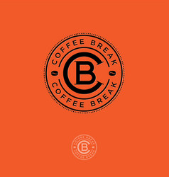 Coffee break logo c and b letters in the circle vector