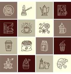 Coffee making equipment line icons vector