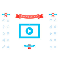 computer tablet with play button icon vector image