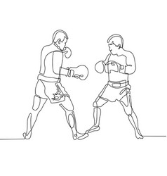 Continuous one line drawing two boxers in the ring vector