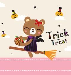Cute bear in halloween day vector