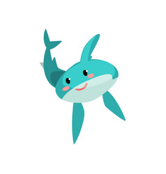 cute blue shark cartoon characte with funny face vector image