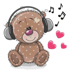 Cute cartoon teddy bear with headphones vector