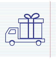 delivery gift sign navy line icon on vector image