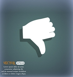 Dislike Thumb down icon symbol on the blue-green vector