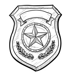 Doodle police badge vector