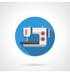 Electric sewing equipment flat round icon vector image