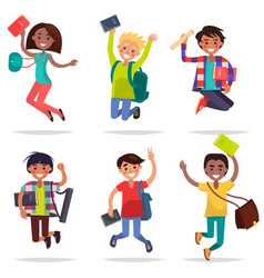 excited pupils girls and boys jumping flat design vector image