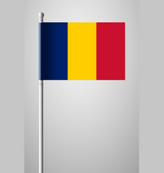 Flag of romania national flag on flagpole vector