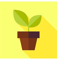 Flat Biology Nature Pot with Plant with long vector
