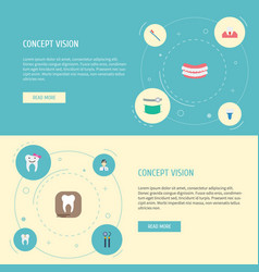 Flat icons hygiene orthodontist radiology and vector