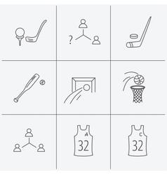Football ice hockey and baseball icons vector image