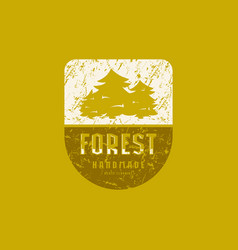 forest emblem with rough texture for t-shirt vector image
