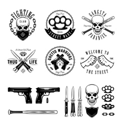 Gangster monochrome labels badges emblems and vector