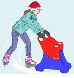 Girl on skates vector
