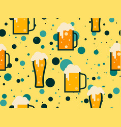 glass beer seamless pattern for promotional vector image