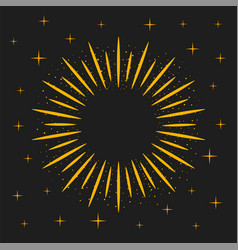 gold sunburst frame rays and magic dust on dark vector image