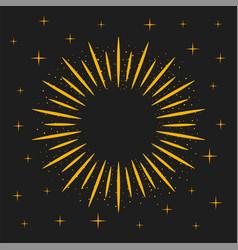 Gold sunburst frame rays and magic dust on dark vector