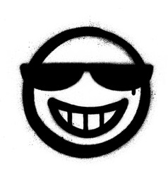 Graffiti grin icon with sunglasses sprayed vector