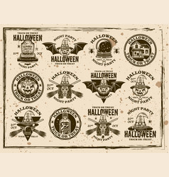 halloween retro emblems on dirty background vector image