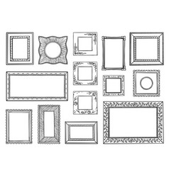 hand drawn frames doodle square and circle vector image