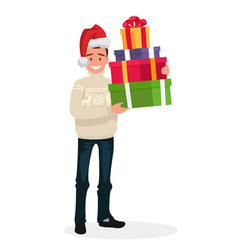 handsome man dressed in a sweater and a christmas vector image