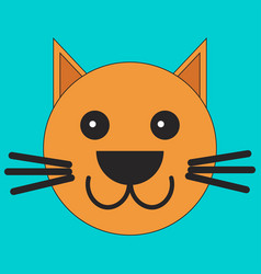 head of a cat in cartoon flat style vector image