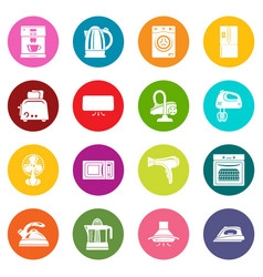 House appliance icons set colorful circles vector