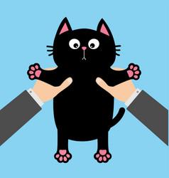 Human businessman hand holding black cat funny vector