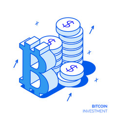 isometric bitcoin line style design concept vector image