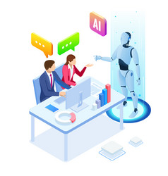 isometric man and woman with robot artificial vector image