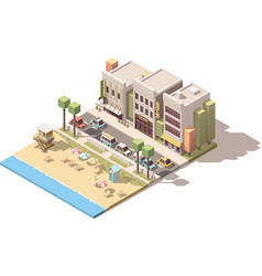 isometric town beach vector image