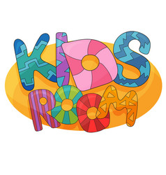 kids room cartoon logo colorful bubble vector image