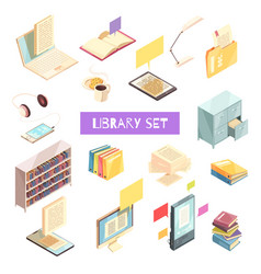 library isometric set vector image