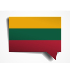 Lithuania flag paper 3d realistic speech bubble on vector